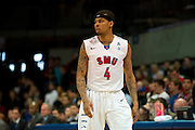 DALLAS, TX - JANUARY 15: Keith Frazier #4 of the SMU Mustangs looks on against the South Florida Bulls on January 15, 2014 at Moody Coliseum in Dallas, Texas.  (Photo by Cooper Neill/Getty Images) *** Local Caption *** Keith Frazier