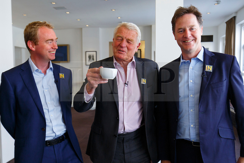 © Licensed to London News Pictures. 07/06/2016. London, UK. Former Liberal Democrat leaders PADDY ASHDOWN and NICK CLEGG join current Liberal Democrat leader TIM FARRON (L) at a Q&A session on EU referendum in central London on 7 June 2016. Photo credit: Tolga Akmen/LNP