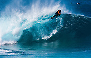 Bodyboarding at Banzai Pipeline, North Shore, Oahu, Hawaii