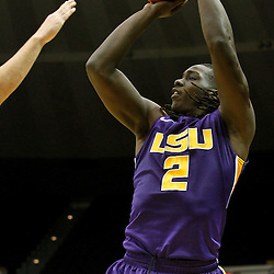 November 12, 2011; Baton Rouge, LA; LSU Tigers forward Johnny O'Bryant (2) shoots against the Nicholls State Colonels during the first half of a game at the Pete Maravich Assembly Center.  Mandatory Credit: Derick E. Hingle-US PRESSWIRE