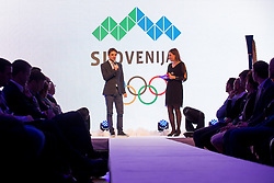 Franci Petek and Anja Hlaca Ferjancic at Official presentation of the Designer wear for Slovenian Athletes at PyeongChang Winter Olympic Games 2018, on December 19, 2017 in Grand Hotel Union, Ljubljana, Slovenia. Photo by Urban Urbanc / Sportida