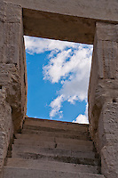 """Stairway to heaven"", stone steps leading up to a magical sky at the Coliseum in Arles, France."