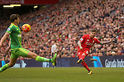 Liverpool defender Alberto Moreno  crosses the ball in during the Barclays Premier League match between Liverpool and Sunderland at Anfield, Liverpool, England on 6 February 2016. Photo by Simon Davies.