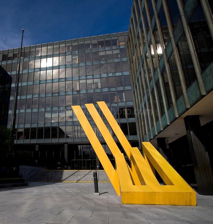 Bank of Ireland Headquarters, Baggot Street, Dublin. The bank received a 3.5 billion euro Irish government bailout following the 2008 financial crisis. The sculpture is by artist Michael Bulfin