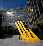 Bank of Ireland Headquarters, Baggot Street, Dublin. The bank received a 3.5 billion euro Irish government bailout following the 2008 financial crisis. The sculpture is by artist Michael Bulfin