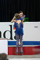 KELOWNA, BC - OCTOBER 26: Ladies gold medalist, Russian figure skater Alexandra Trusova congratulates bronze medalist, Young You of Korea at the podium during medal ceremonies of Skate Canada International held at Prospera Place on October 26, 2019 in Kelowna, Canada. (Photo by Marissa Baecker/Shoot the Breeze)