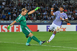 September 14, 2017 - San Sebastian, Gipuzkoa - Basque Country, Spain - André Hansen of Rosenborg BK duels for the ball with Willian Jose of Real Sociedad during the UEFA Europa League Group L football match between Real Sociedad and Rosenborg BK at the Anoeta Stadium, on 14 september 2017 in San Sebastian, Spain  (Credit Image: © Jose Ignacio Unanue/NurPhoto via ZUMA Press)