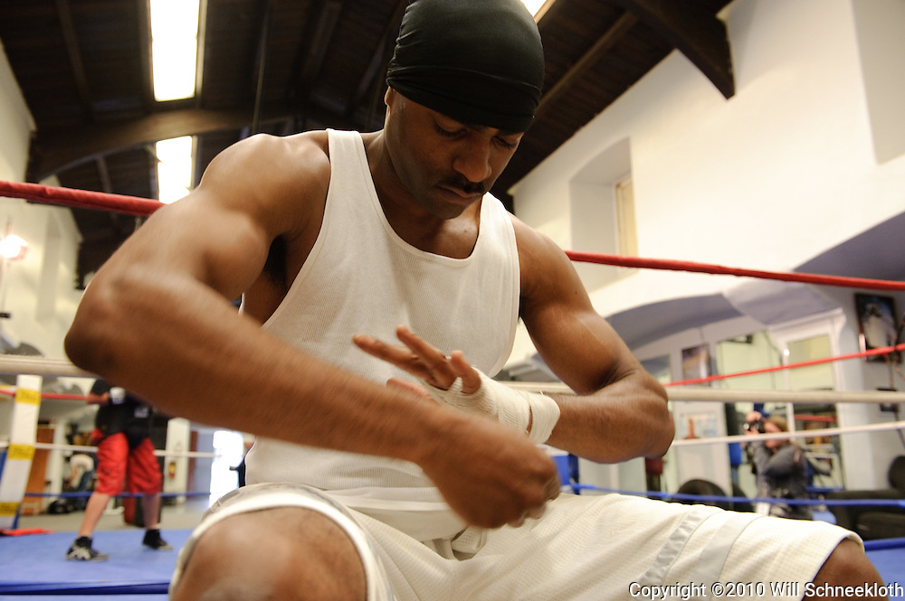 10 April, 2010, Chris Jones wraps his hands at La Habra Boxing Club prior to working out.