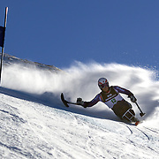 Timothy Farr, Great Britain, in action during the Men's Giant Slalom Sitting, Adaptive competition at Coronet Peak, during the Winter Games. Queenstown, New Zealand, 23rd August 2011. Photo Tim Clayton..