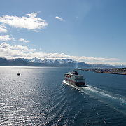 Three weeks aboard the Kong Harald. Hurtigruten, the Coastal Express. The Kong Harald entering the harbour of Vesteralen