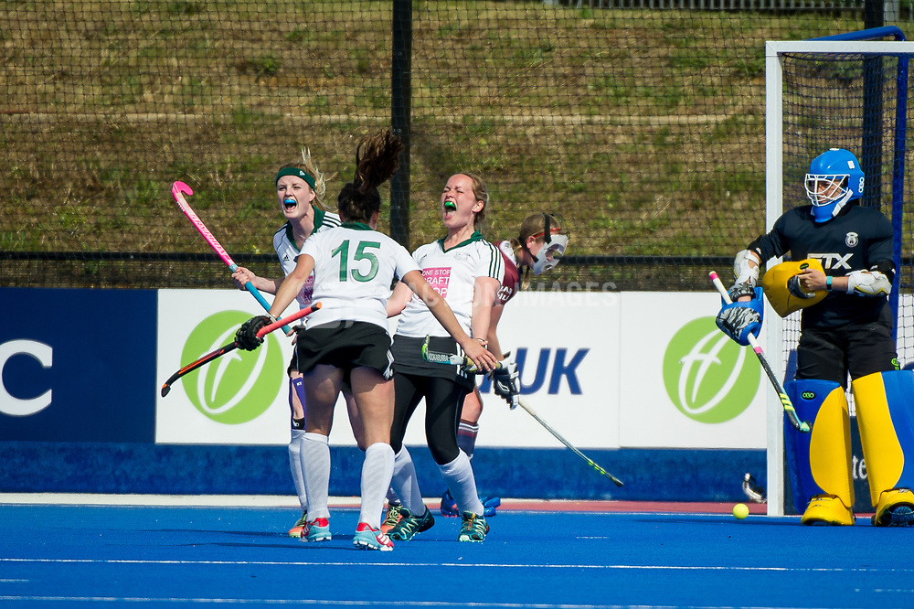 Buckingham's Kitty Higgins celebrates scoring. Wimbledon v Buckingham - Investec Women's Hockey League Finals, Lee Valley Hockey & Tennis Centre, London, UK on 23 April 2017. Photo: Simon Parker