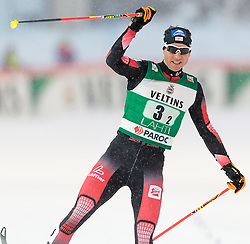 20.02.2016, Salpausselkae Stadion, Lahti, FIN, FIS Weltcup Nordische Kombination, Lahti, Team Sprint, Langlauf, im Bild Bernhard Gruber (AUT) // Bernhard Gruber of Austria celebrates during Cross Country Team Sprint Race of FIS Nordic Combined World Cup, Lahti Ski Games at the Salpausselkae Stadium in Lahti, Finland on 2016/02/20. EXPA Pictures © 2016, PhotoCredit: EXPA/ JFK
