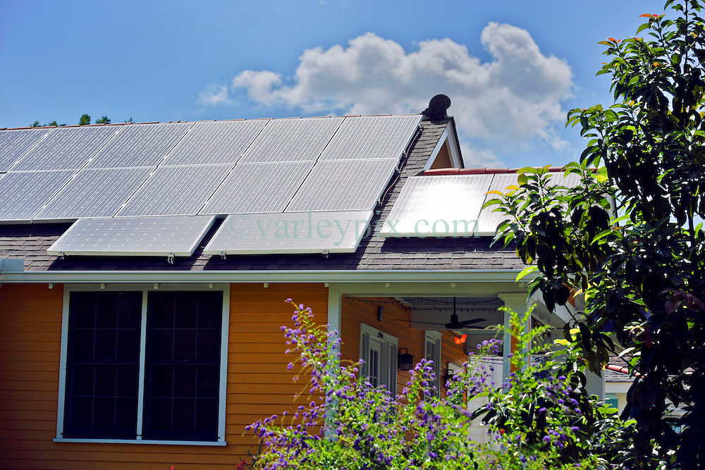 17 July 2013. New Orleans, Louisiana.<br /> The house goes solar. Solar panels adorn the roof courtesy of Uptown Solar and a tax credit from the state and federal government.<br /> Photo; Charlie Varley