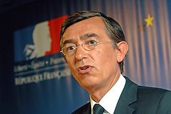 BRUSSELS, BELGIUM - AUGUST-25-2006 - Philippe Douste-Blazy French Foreign Minister, holds a press conference after an extraordinary meeting of European foreign ministers and the United Nations to discuss European military deployment to Lebanon as part of the cease-fire agreement between Israel and Hezbollah, at the European Council headquarters in Brussels. (PHOTO © JOCK FISTICK)