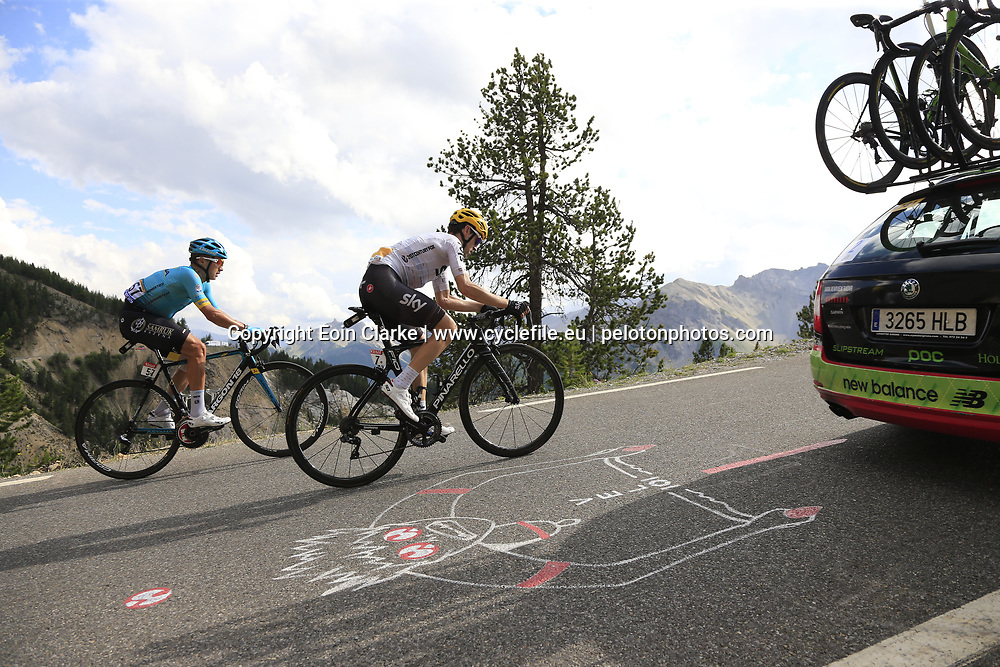 Mikel Nieve (ESP) Team Sky and Alexey Lutsenko (KAZ) Astana climb through the Caisse Deserte on Col d'Izoard during Stage 18 of the 104th edition of the Tour de France 2017, running 179.5km from Briancon to the summit of Col d'Izoard, France. 20th July 2017.<br /> Picture: Eoin Clarke | Cyclefile<br /> <br /> All photos usage must carry mandatory copyright credit (&copy; Cyclefile | Eoin Clarke)