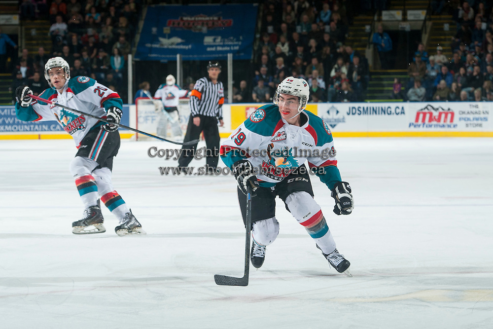 KELOWNA, CANADA - JANUARY 23: Dillon Dube #19 of Kelowna Rockets skates against the Everett Silvertips on January 23, 2015 at Prospera Place in Kelowna, British Columbia, Canada.  (Photo by Marissa Baecker/Shoot the Breeze)  *** Local Caption *** Dillon Dube;