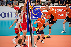 23-09-2016 NED: EK Kwalificatie Nederland - Oostenrijk, Koog aan de Zaan<br /> Nederland pakt de eerste set 25-17 / Daan van Haarlem #1 sets Jasper Diefenbach #6