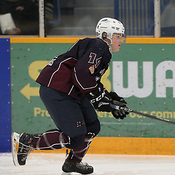 DRYDEN, ON - MAY 3: Eric Stout #14 of the Dryden GM Ice Dogs  follows the play in the first period during Game Six of the Central Canadian Junior Championship during the 2018 Dudley Hewitt Cup on May 3, 2018 at the Dryden Memorial Arena in Dryden, Ontario, Canada. (Photo by Tim Bates/DHC via OJHL Images)