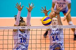 23-08-2017 NED: World Qualifications Greece - Slovenia, Rotterdam<br /> SloveniÎ wint met 3-0 / Sasa Planinsec #18 of Slovenia, Lana Scuka #14 of Slovenia<br /> Photo by Ronald Hoogendoorn / Sportida