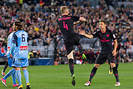 July 13 2017: Arsenal player Per Mertesacker (4) celebrates his goal at the International soccer match between English Premier League giants Arsenal and A-League premiers Sydney FC at ANZ Stadium in Sydney.
