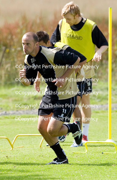 St Johnstone Training....07.08.09<br /> Paul Sheerin during training this morning ahead of tomorrow's friendly against Burnley<br /> Perthshire Picture Agency<br /> Tel: 01738 623350  Mobile: 07990 594431