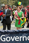 September 3, 2012- Brooklyn, New York:  (L-R) New York State Governor Andrew Cuomo and New York City Council Speaker Christine Quinn attends the 45th Annual West Indian Day Labor Day Celebration held on September 3, 2012 along Brooklyn's famed Eastern Parkway. It's one of New York City's most popular parades, a cultural festival that celebrates West Indian history, culture, music and food. Attended by as many as two million people. (Photo by Terrence Jennings)