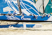 Gazprom Team Russia. Day four of the Extreme Sailing Series regatta being sailed in Singapore. 23/2/2014