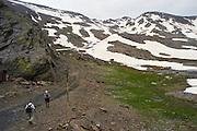 EN. Hikers trekking through the Sierra Nevada National Park. Granada province, Andalusia, Spain..ES. Senderistas haciendo trekking por el Parque Nacional de Sierra Nevada.  Granada, Andalucia, España.