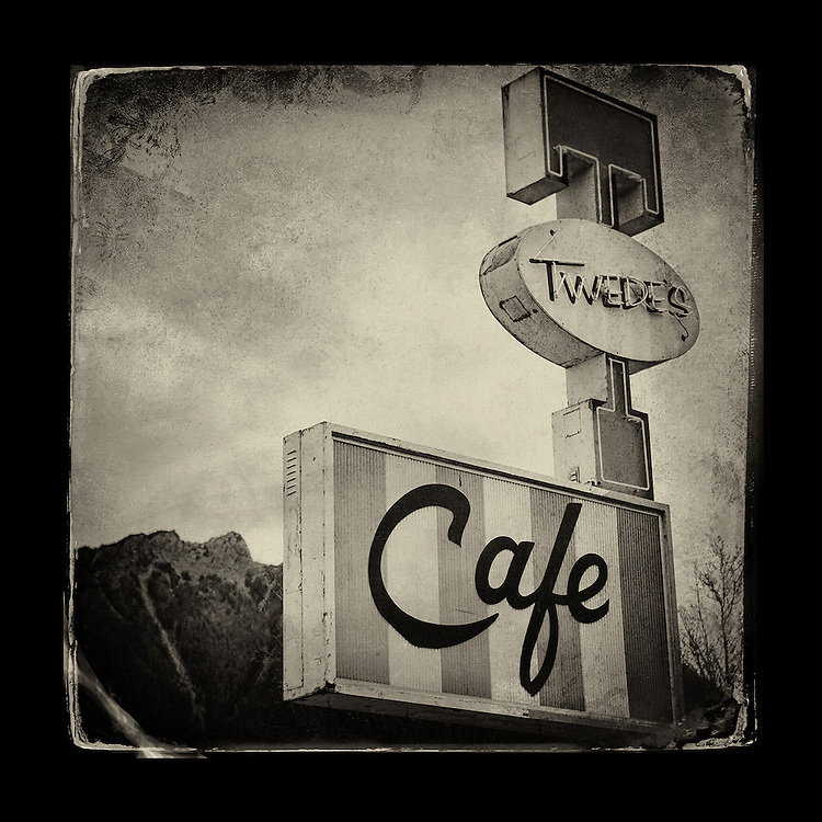 "Charles Blackburn image of the Tweeds Cafe sign in North Bend, WA. 5x5"" print."