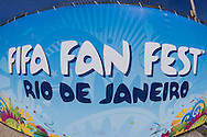 General signage at the FIFA Fan Fest, Copacabana beach, Rio de Janeiro, during the Argentina v Belgium World Cup quarter final match which was shown on big screens.<br /> Picture by Andrew Tobin/Focus Images Ltd +44 7710 761829<br /> 05/07/2014