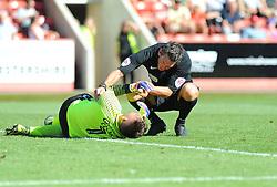 Referee Lee Probert goes over to check on Alex Cisak of Leyton Orient  - Mandatory by-line: Nizaam Jones/ JMP- 06/08/2016- FOOTBALL - The LCI Rail Stadium - Cheltenham, England - Cheltenham Town v Leyton Orient - Sky Bet League Two