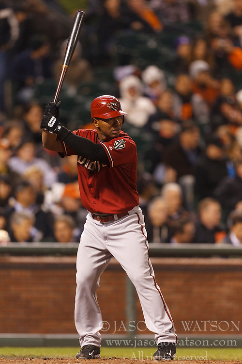 May 11, 2011; San Francisco, CA, USA;  Arizona Diamondbacks third baseman Melvin Mora (4) at bat against the San Francisco Giants during the seventh inning at AT&T Park.  San Francisco defeated Arizona 4-3.