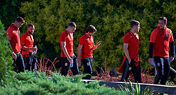 BELGRADE, SERBIA - Sunday, June 11, 2017: Wales' James Chester and Joe Allen during a team walk around the Hyatt Regency Hotel before the 2018 FIFA World Cup Qualifying Group D match between Wales and Serbia. (Pic by David Rawcliffe/Propaganda)