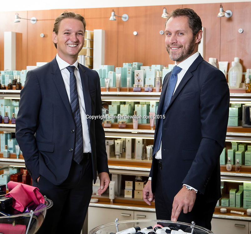 Oevel 27 July 2015 Estee Lauder<br /> Laurens Tijdhof (L) and Bart Taeymans (R) portrayed at the Estee Lauder Plant in Oevel, Flanders, Belgium.