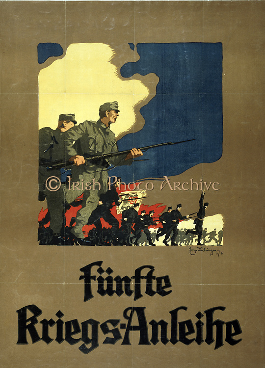 World War I 1914-1918: Fünfte Kriegs-Anleihe, 1916. Austrian poster for the issue of the Fifth War Loan to fund hostilities. Soldiers with rifles and fixed bayonets, charging.  Government Finance