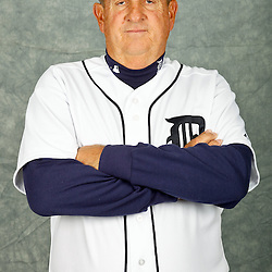 February 28, 2012; Lakeland, FL, USA; Detroit Tigers third base coach Gene Lamont (22) poses for photo day in the rec room at the Detroit Tigers Headquarters.  Mandatory Credit: Derick E. Hingle-US PRESSWIRE