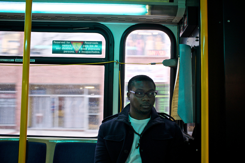 Kenneth Okorafor, 26, rides the bus to Silver Spring, MD where he attends class at Montgomery College. Okorafor, who is from Nigeria, has lived with his sister and her family in the United States since 2000. He plans on returning to Nigeria after he graduates.