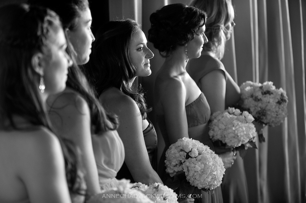 Bridesmaids wait for the bride to walk down the aisle at the Berkeley City Club.