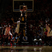 09 December 2017:  The San Diego State men's basketball team hosts the California Golden Bears Saturday afternoon. San Diego State Aztecs guard Jeremy Hemsley (42) attempts to block the shot of California Golden Bears forward Justice Sueing (10) in the second half. The Aztecs lost 63-62 to Cal.<br /> www.sdsuaztecphotos.com