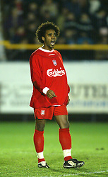 SOUTHPORT, ENGLAND - Tuesday, January 13, 2004: Liverpool's Florent Sinama-Pongolle in action against Everton during the 'mini-Derby' Premier League reserve match at Haige Avenue. (Pic by David Rawcliffe/Propaganda)