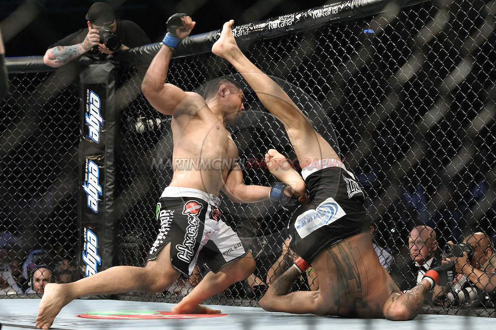 "ABU DHABI, UNITED ARAB EMIRATES, APRIL 10, 2010: Mark Munoz (left) and Kendal Grove are pictured at  ""UFC 112: Invincible"" inside Ferari World, Abu Dhabi on April 10, 2010."