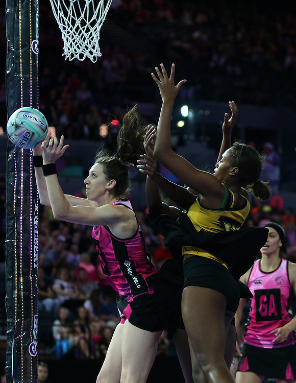 New Zealand's Bailey Mes gets rebound ball against Jamaica in the Fast5 Netball World Series, Vector Arena, Auckland, New Zealand, Sunday, October 09, 2014. Credit:SNPA / Dianne Manson