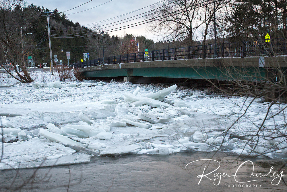 Ice builds on Winooski River in Montpelier after a couple days of rain.