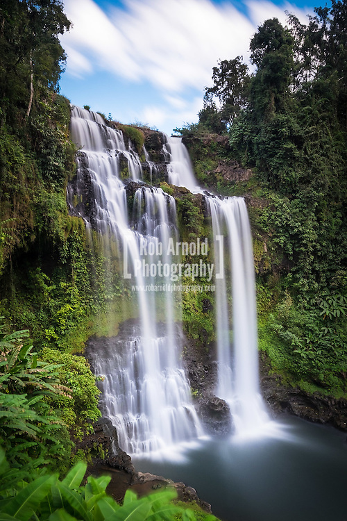 The spectacular waterfall, Tad Yuang, near Paksong on the Bolaven Plateau in southern Laos.