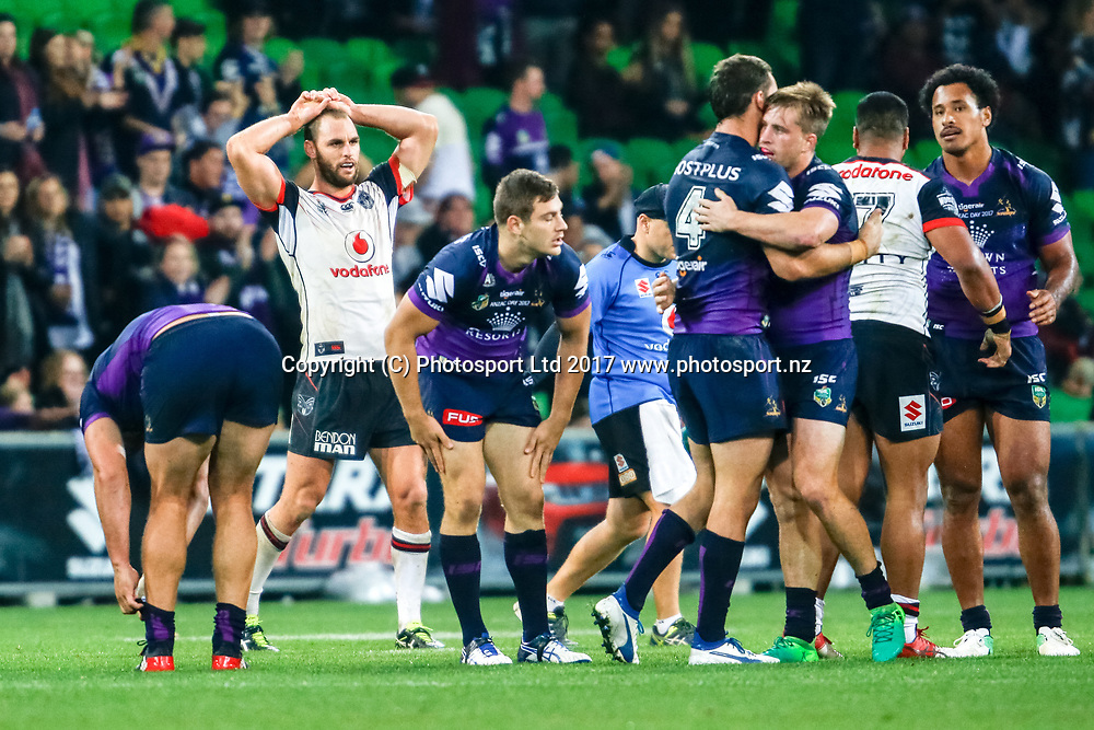 Storm celebrate after winning .Melbourne Storm v Vodafone Warriors, Round 8 of the 2017 NRL Rugby League Premiership season at AAMI Park in Melbourne, Australia. 25 April 2017. Copyright photo: Brendon Ratnayake / www.photosport.nz