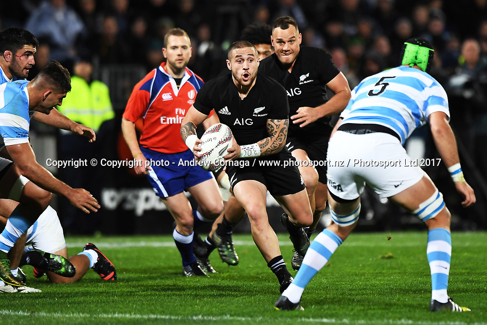 TJ Perenara.<br /> Rugby Championship test match rugby union. New Zealand All Blacks v Argentina Los Pumas, Yarrow Stadium, New Plymouth. New Zealand. Saturday 9 September 2017. &copy; Copyright photo: Andrew Cornaga / www.Photosport.nz