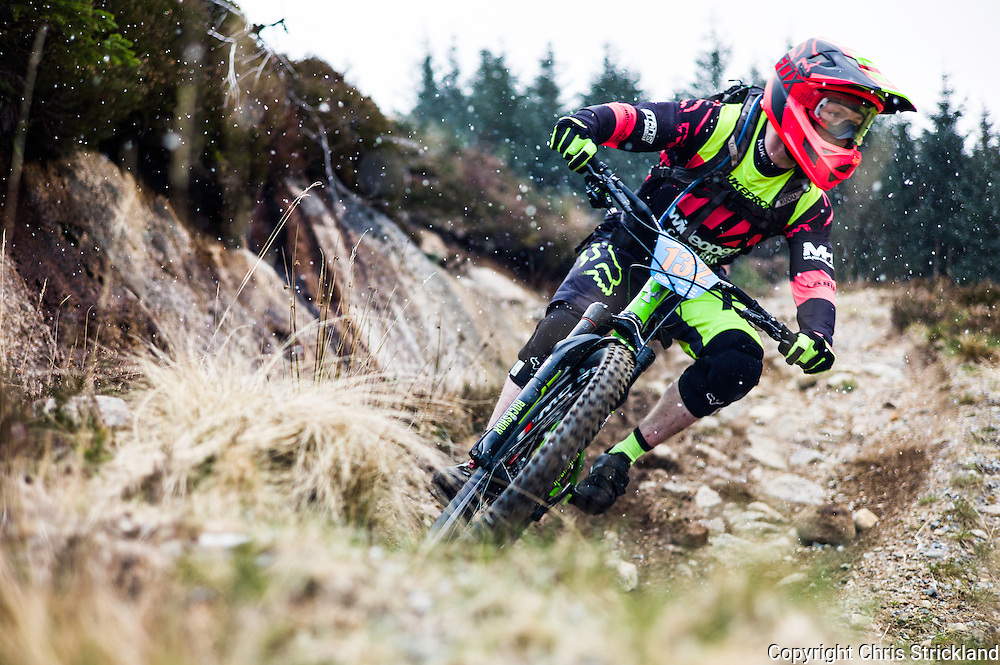 Fort William, Scottish Highlands, UK. 16th April 2016. Mountain bikers compete in the POC Scottish Enduro Series 2nd Round on Nevis Range in the Scottish Highlands.