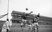 Players jump for ball during the All Ireland Senior Gaelic Football Final Kerry v. Galway in Croke Park on the 26th September 1965. Galway 0-12 Kerry 0-09.