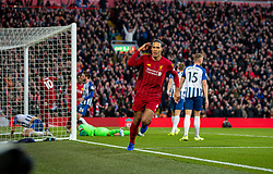 LIVERPOOL, ENGLAND - Saturday, November 30, 2019: Liverpool's Virgil van Dijk celebrates after scoring the first goal wth a header during the FA Premier League match between Liverpool FC and Brighton & Hove Albion FC at Anfield. Van Dijk scored both goals as Liverpool won 2-1. (Pic by David Rawcliffe/Propaganda)
