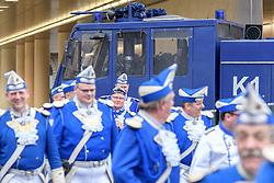 23.02.2017, Koeln, GER, Karneval, Weiberfastnacht, im Bild Blau-Weisse Garde vor einem Wasserwerfer // during Women's Night of Cologne Carnival 2017. Koeln, Germany on 2017/02/23. EXPA Pictures © 2017, PhotoCredit: EXPA/ Eibner-Pressefoto/ Schueler<br /> <br /> *****ATTENTION - OUT of GER*****